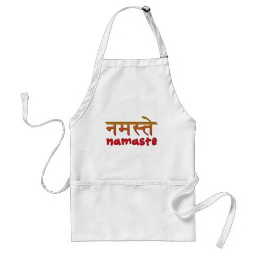 Namaste en escritura inglesa y del Hindi Delantales