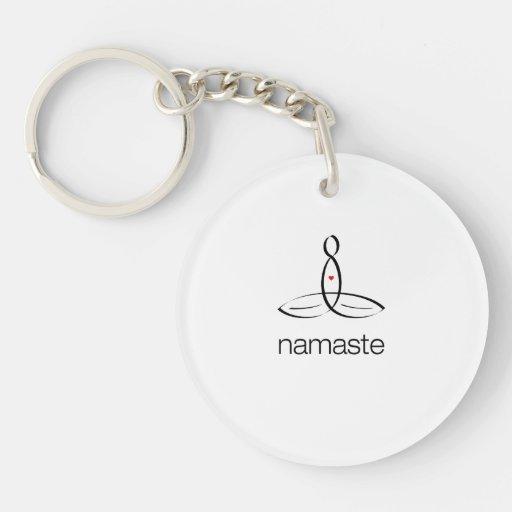 Namaste - estilo regular negro llaveros