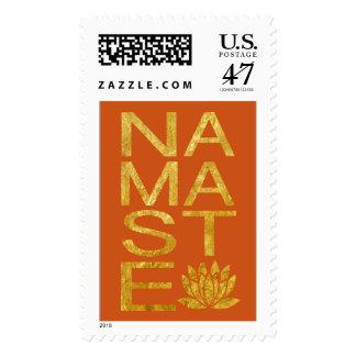 Namaste Faux Gold Foil and Orange Yoga Postage