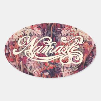 Namaste floral art oval sticker