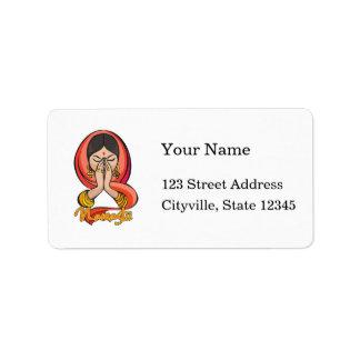 Namaste hindú etiquetas de dirección