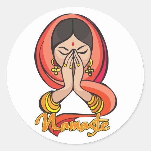 Namaste hindú etiquetas redondas