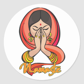 Namaste hindú pegatina redonda