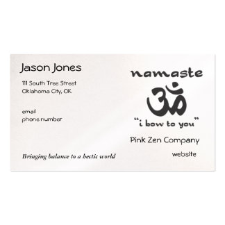 Namaste - I bow to you (in black) Business Card