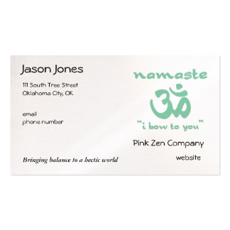 Namaste - I bow to you (in green) Business Card