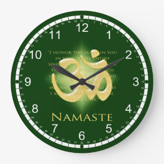 Namaste - I bow to you (in green) Round Wall Clock
