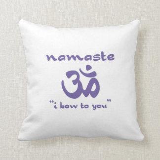 Namaste - I bow to you (in purple) Throw Pillow