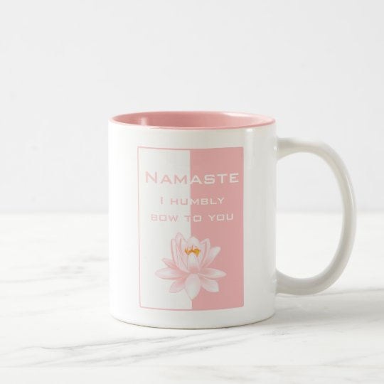Namaste - I humbly bow to you (pink) Two-Tone Coffee Mug