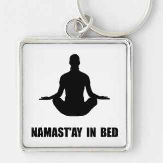 Namaste In Bed Silver-Colored Square Keychain
