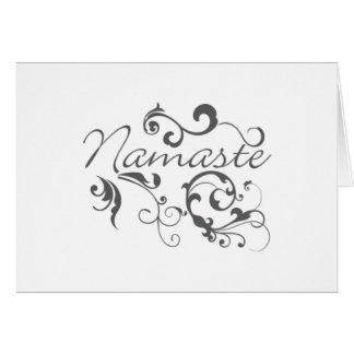 Namaste in dark gray swirls card
