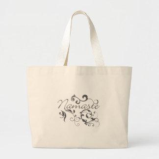 Namaste in dark gray swirls large tote bag