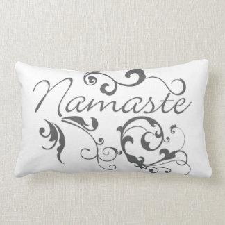 Namaste in dark gray swirls lumbar pillow
