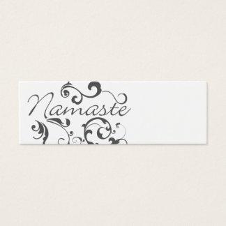 Namaste in dark gray swirls mini business card