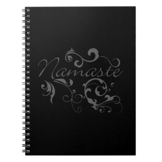 Namaste in dark gray swirls notebook