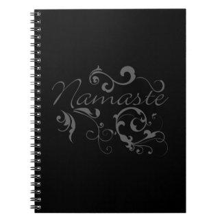 Namaste in dark gray swirls spiral notebook
