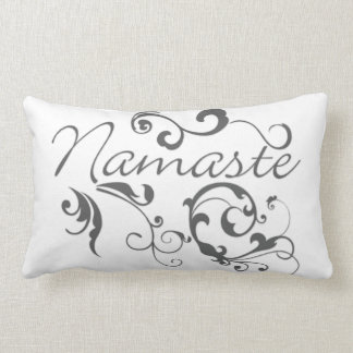 Namaste in dark gray swirls pillows
