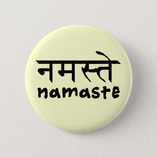 Namaste in English and Hindi Button