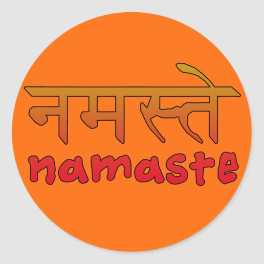 Namaste in English and Hindi Script Classic Round Sticker