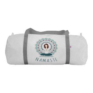 Namaste in Lotus Pose - Yoga Asana Woman Gym bag
