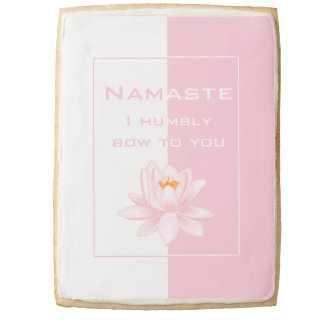 Namaste in Pink and White Shortbread Cookie