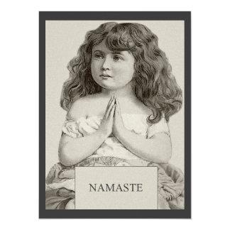 Namaste - Little Girl Vintage Illustration Card