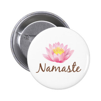 Namaste Lotus Flower Yoga 2 Inch Round Button
