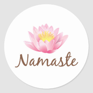 Namaste Lotus Flower Yoga Classic Round Sticker