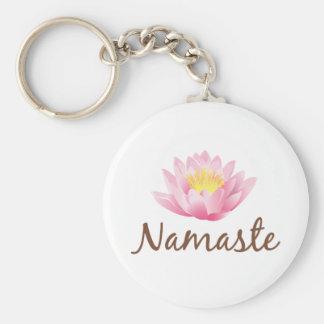 Namaste Lotus Flower Yoga Keychain