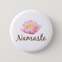 Namaste Lotus Flower Yoga Pinback Button