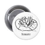 Namaste Lotus Lino Cut Design Pin