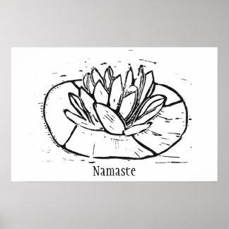 Namaste Lotus Lino Cut Design Poster