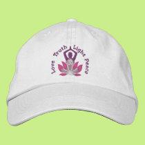 617477ebcae Namaste Lotus Om Yoga Pose Embroidered Embroidered Baseball Hat