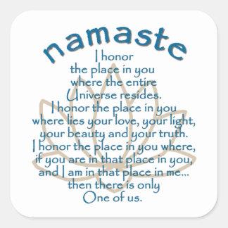 Namaste Lotus Pegatina Cuadrada