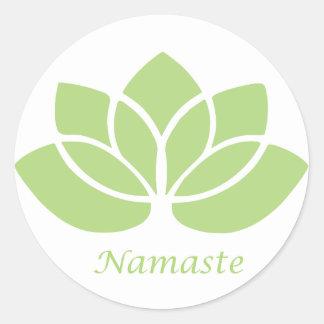 Namaste Lotus Pegatina Redonda