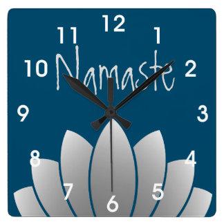 Namaste Modern Lotus Floral Square Wallclock