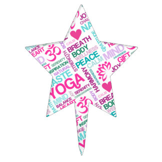 Namaste, Peace and Harmony Pink YOGA Pattern Cake Toppers
