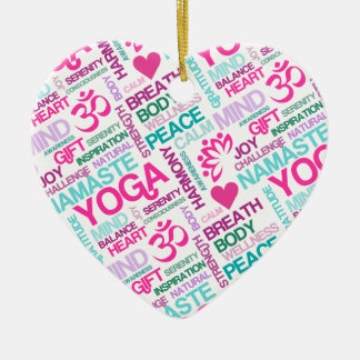 Namaste, Peace and Harmony Pink YOGA Pattern Ceramic Ornament