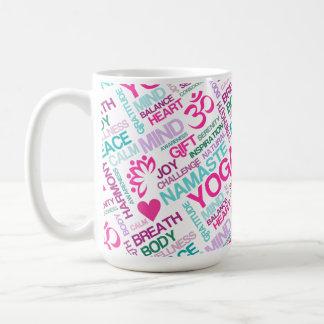 Namaste, Peace and Harmony Pink YOGA Pattern Classic White Coffee Mug