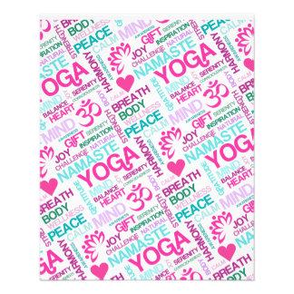 "Namaste, Peace and Harmony Pink YOGA Pattern 4.5"" X 5.6"" Flyer"
