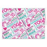 Namaste, Peace and Harmony Pink YOGA Pattern Greeting Card
