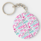 Namaste, Peace and Harmony Pink YOGA Pattern Keychain