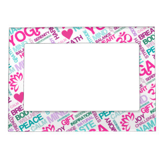 Namaste, Peace and Harmony Pink YOGA Pattern Magnetic Picture Frame