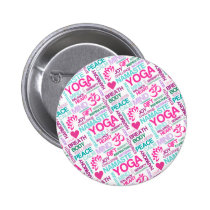 Namaste, Peace and Harmony Pink YOGA Pattern Pinback Button