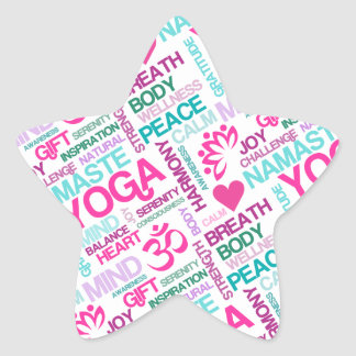 Namaste, Peace and Harmony Pink YOGA Pattern Star Sticker