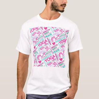 Namaste, Peace and Harmony Pink YOGA Pattern T-Shirt