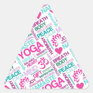 Namaste, Peace and Harmony Pink YOGA Pattern Triangle Sticker