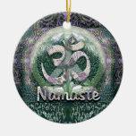 Namaste Peace Symbol Double-Sided Ceramic Round Christmas Ornament