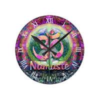 Namaste Peace Symbol Round Clock