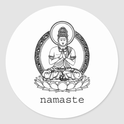 Namaste Pegatinas Redondas