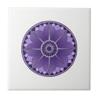 NAMASTE Purple Flower Spiritual Lotus Mandala Ceramic Tile